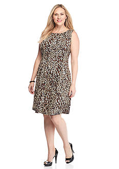 Gabby Skye Plus Size Animal Printed Fit and Flare Dress