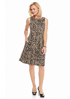 Gabby Skye Animal Printed Fit and Flare Dress