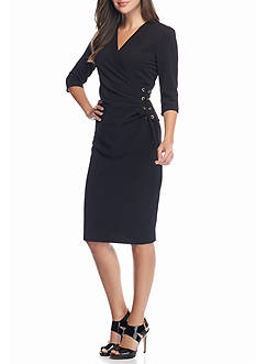Gabby Skye Textured Knit Side Tie Sheath Dress
