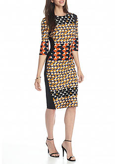 Gabby Skye Printed Scuba Sheath Dress