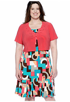 Danny & Nicole Plus Size Short-Sleeved Jacket Dress