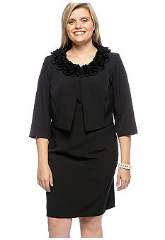 Danny & Nicole Ruffle Collar Jacket Dress