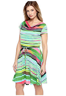 Gabby Skye Cap-Sleeved Multi Stripe Dress