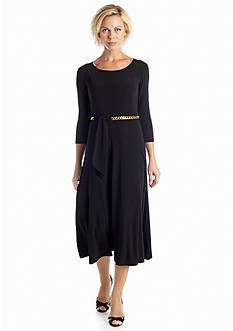 DN Designs by Danny & Nicole Three Quarter Sleeve A-line Dress with Chain Belt