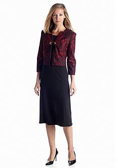 DN Designs by Danny & Nicole Three-Quarter Sleeve Jacket Dress