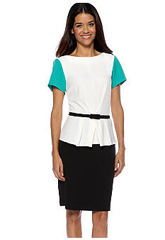 Julian Taylor Petite Short Sleeve Colorblock Peplum Dress