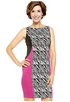 Julian Taylor Sleeveless Colorblock Sheath Dress