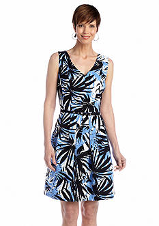 Julian Taylor Sleeveless Tropical Print Fit and Flare Belted Dress