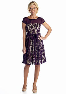 Julian Taylor Allover Lace Fit and Flare Dress
