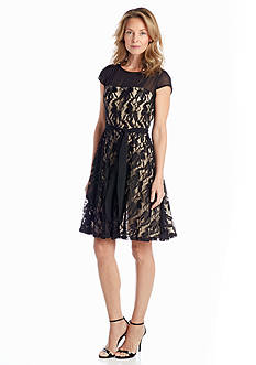 Julian Taylor Allover Lace Fit-and-Flare Dress