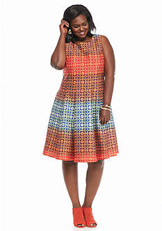 Julian Taylor Plus Size Printed Fit and Flare Dress
