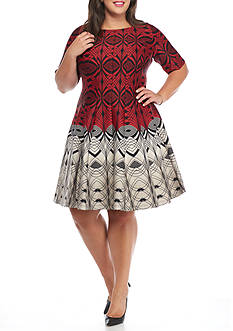 Julian Taylor Plus Size Printed Scuba Fit and Flare Dress
