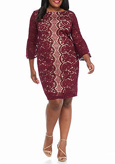 Gabby Skye Plus Size Bell-Sleeve Lace Sheath Dress