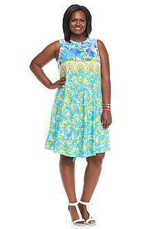 Julian Taylor Plus Size Printed Trapeze Dress