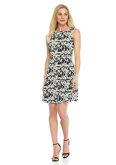 Julian Taylor Floral Printed Trapeze Dress