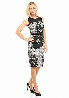 Julian Taylor Bonded Lace Midi Sheath Dress