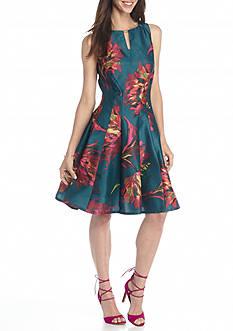 Julian Taylor Floral Printed Fit and Flare Dress