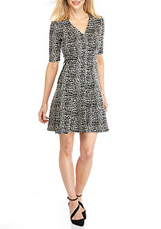 Gabby Skye Printed Fit and Flare Dress with Faux Pockets