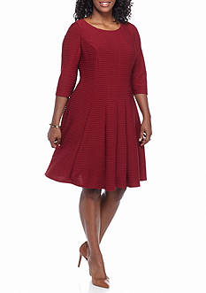 Julian Taylor Plus Size Textured Knit Fit and Flare Dress