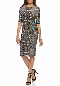Julian Taylor Printed Scuba Sheath Dress