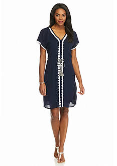 Spense Embroidered Gauze Drawstring Dress