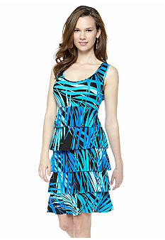 Spense Sleeveless Tiered Printed Tank Dress