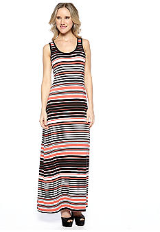 Spense Petite Sleeveless Striped Maxi Dress