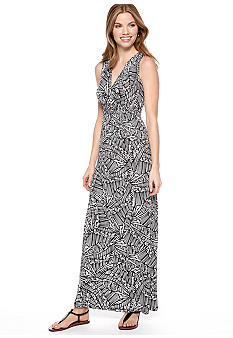 Spense Petite Sleeveless Printed Maxi Dress