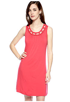 Spense Petite Sleeveless Shift Dress with Braided Neckline