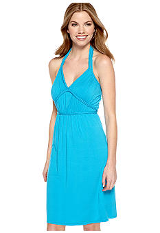 Spense Petite Halter Dress with Braid Trim