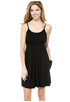 Spense Petite Spaghetti Strap Pin-Tuck Tank Dress