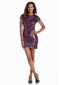 Hailey Logan Allover Sequin Cocktail Sheath Dress