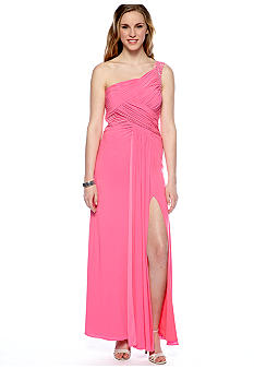 Hailey Logan One Shoulder Gown with Bead Trim