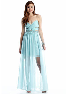 Hailey Logan Spaghetti Strap Mesh Cutout Gown