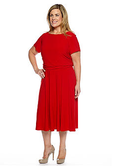 Danny & Nicole Plus Size Short-Sleeved Blouson Dress
