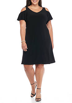 MSK Plus Size Cold Shoulder Shift Dress