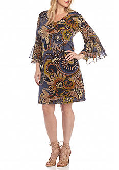 MSK Plus Size Paisley Printed Shift Dress
