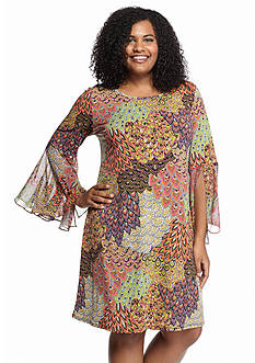 MSK Plus Size Printed Shift Dress