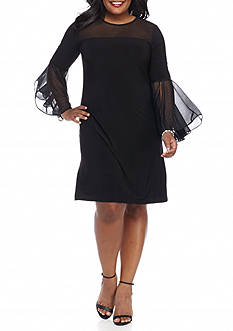 MSK Plus Size Illusion Neckline Shift Dress