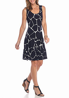 MSK Giraffe Printed Tiered Dress