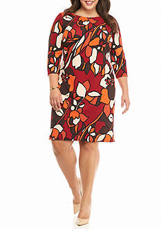 MSK Plus Size Floral Printed Shift Dress