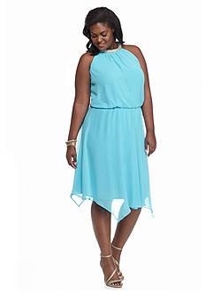 MSK Plus Size Blouson Halter Dress