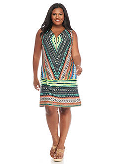 MSK Plus Size Printed Zip Front Shift Dress