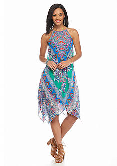 MSK Printed Hankie Hem Halter Dress