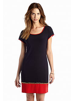 JBS Short Sleeve Color Block Shift Dress