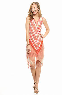 MSK Printed Hanky Hem Dress