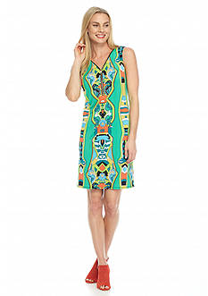 MSK Zip Front Printed Shift Dress