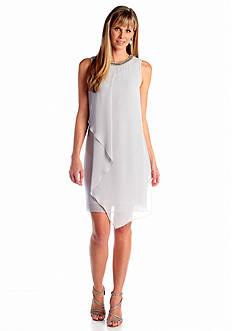 Sleeveless Sheath Dress with Embellished Neckline