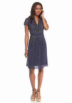 MSK Polka Dot A-Line Dress