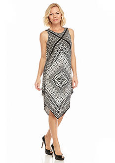 MSK Hankie Hem Printed Shift Dress